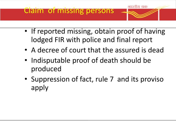 Claim  of missing persons