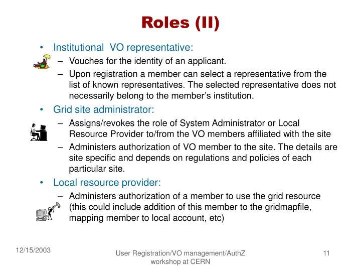 Roles (II)