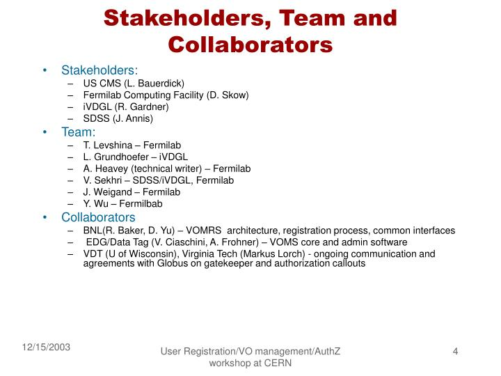 Stakeholders, Team and Collaborators