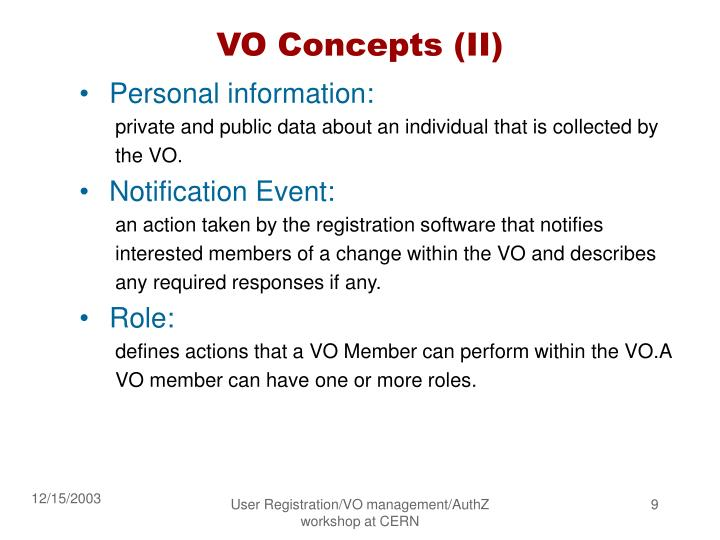 VO Concepts (II)