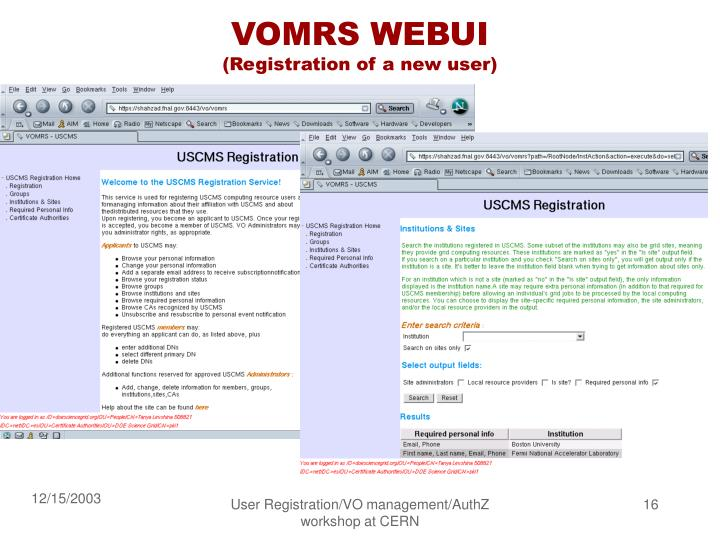 VOMRS WEBUI