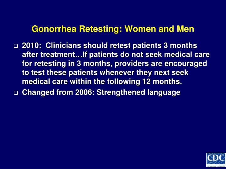 Gonorrhea Retesting: Women and Men