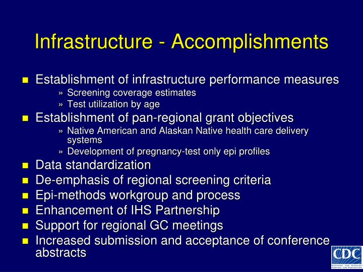 Infrastructure - Accomplishments
