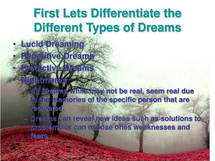 an analysis of the different types of dreams Here are 50 dream quotes to help define and dismantle the curious world of dreams and their unconscious meaning.