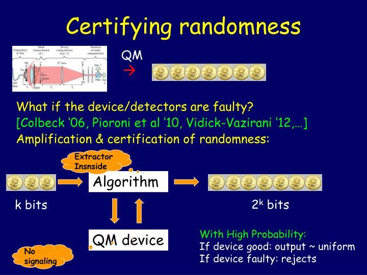 Certifying randomness