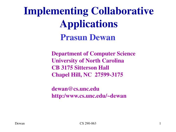 implementing collaborative applications n.