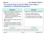 it is unclear what is next for wapi from either a regulatory or standards perspective