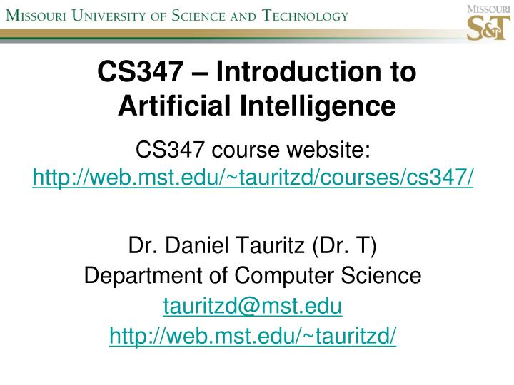cs347 introduction to artificial intelligence n.