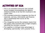 activities of scm