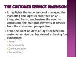 the customer service dimension