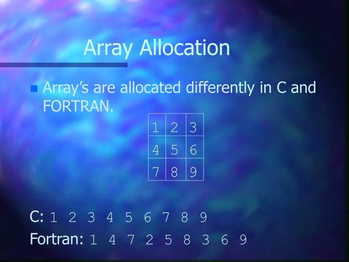 Array Allocation