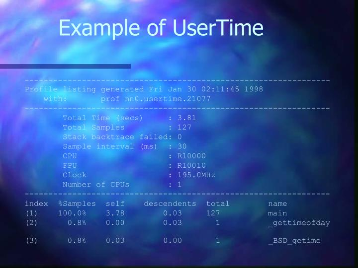 Example of UserTime