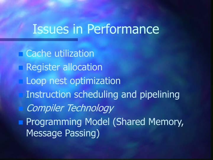 Issues in Performance