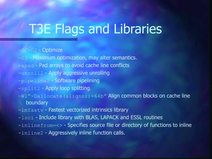 T3E Flags and Libraries