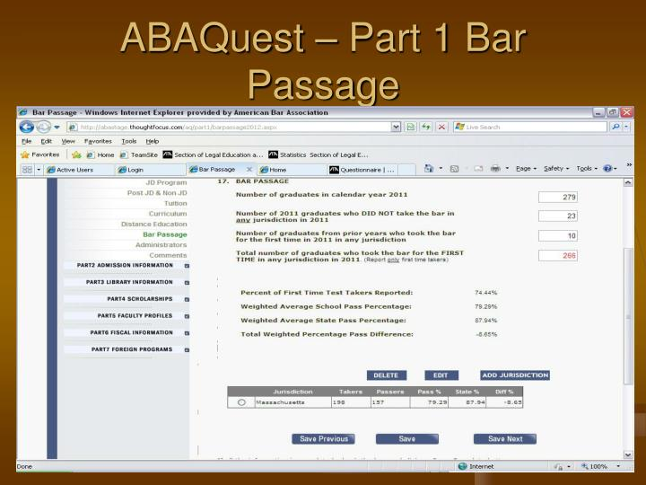ABAQuest – Part 1 Bar Passage