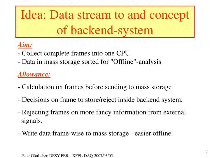 Idea: Data stream to and concept of backend-system