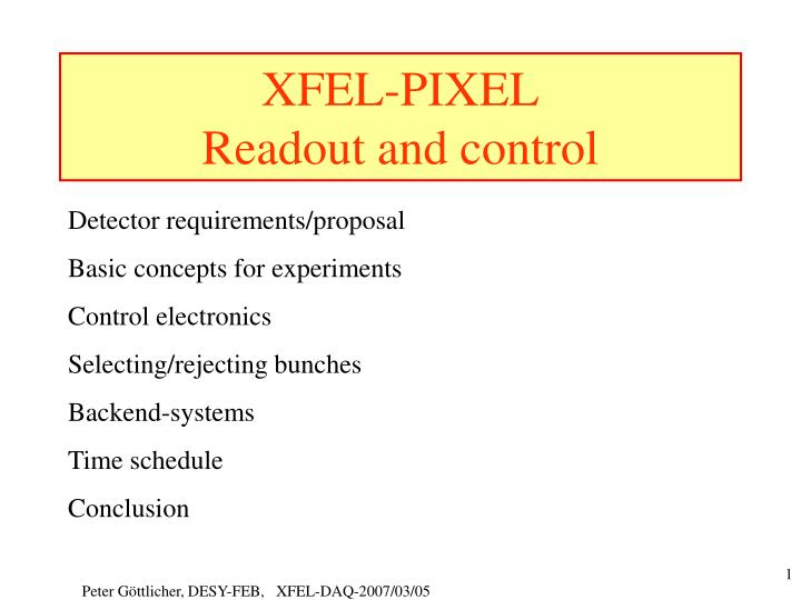 Xfel pixel readout and control