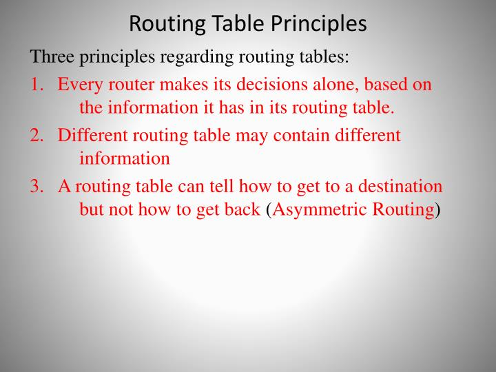 Routing Table Principles