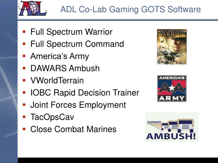 ADL Co-Lab Gaming GOTS Software
