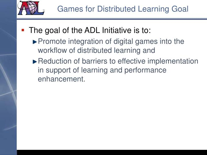 Games for Distributed Learning Goal