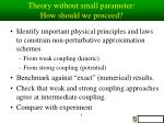 theory without small parameter how should we proceed
