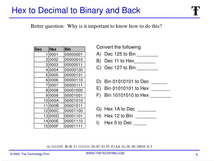Hex to Decimal to Binary and Back