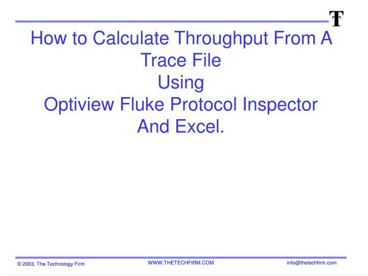 How to Calculate Throughput From A Trace File