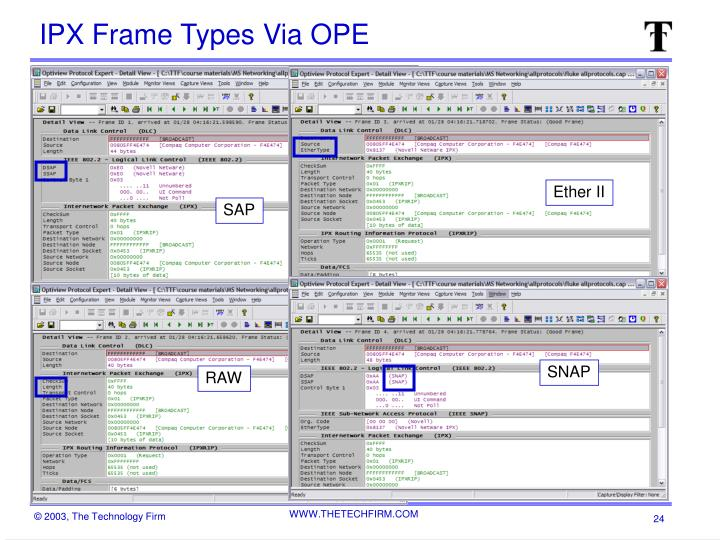 IPX Frame Types Via OPE