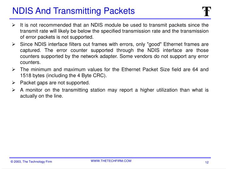 NDIS And Transmitting Packets