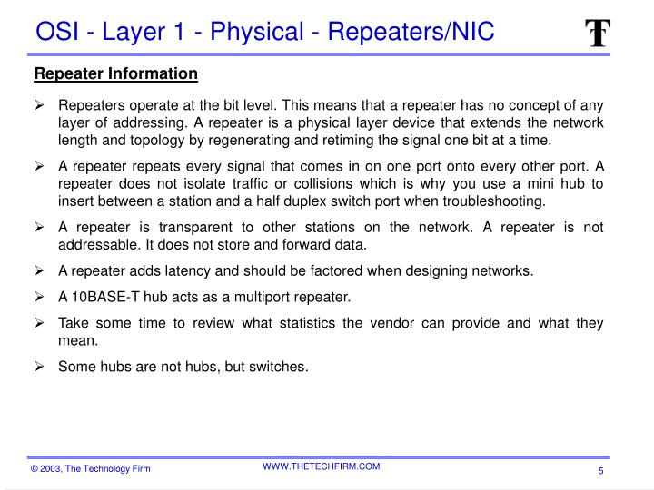 OSI - Layer 1 - Physical - Repeaters/NIC
