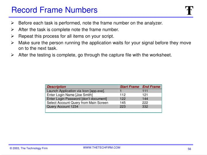 Record Frame Numbers