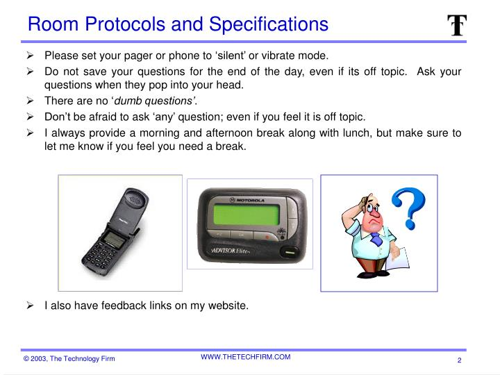 Room protocols and specifications