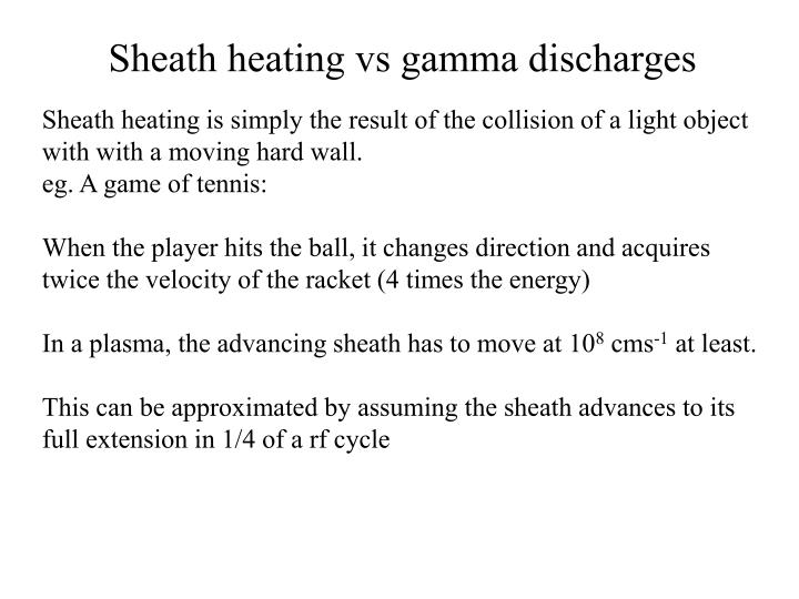 Sheath heating vs gamma discharges