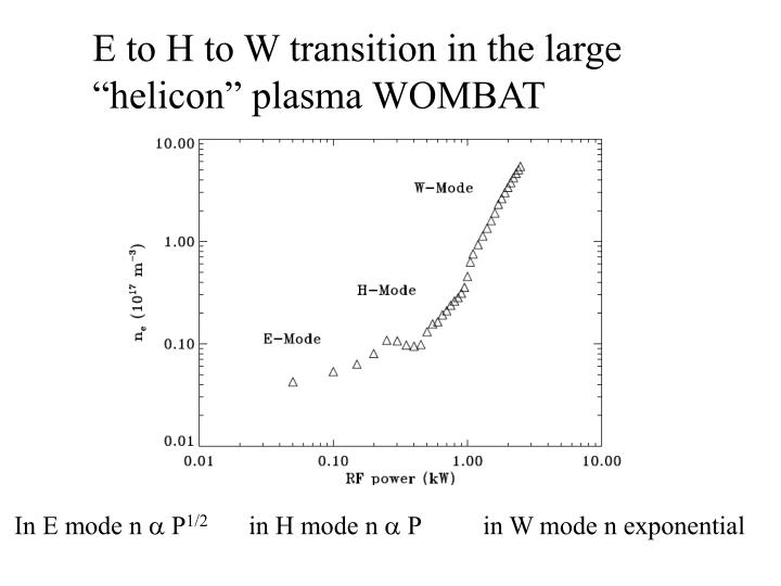E to H to W transition in the large
