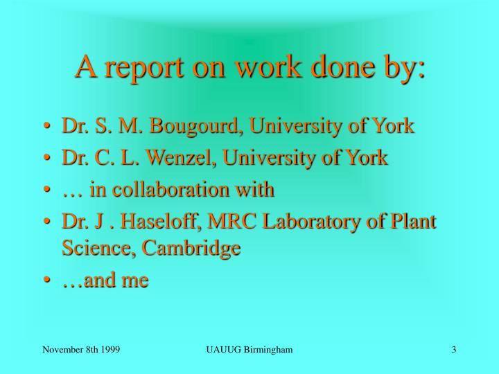 A report on work done by