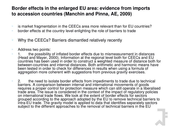 Border effects in the enlarged EU area: evidence from imports