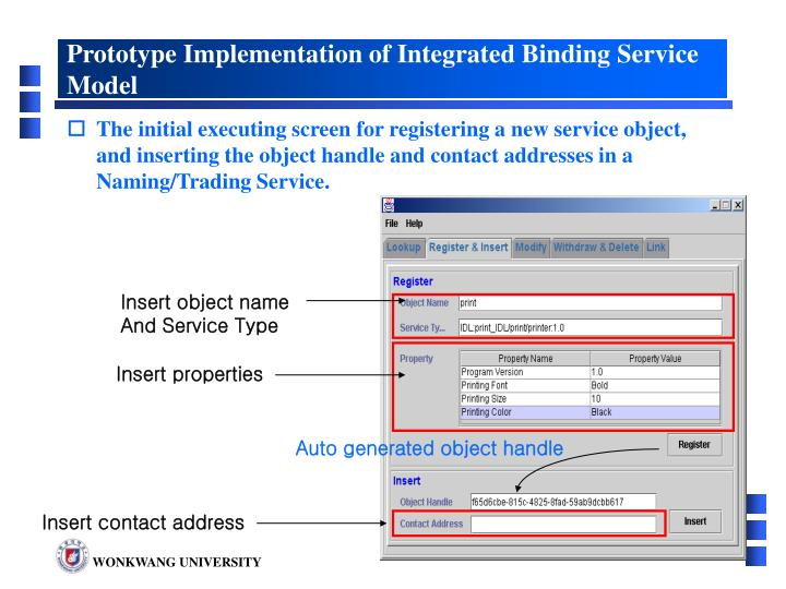 Prototype Implementation of Integrated Binding Service Model