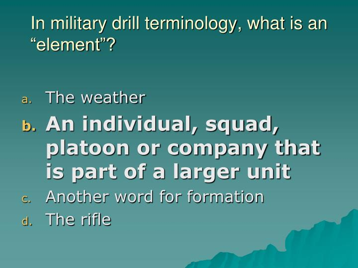 """In military drill terminology, what is an """"element""""?"""