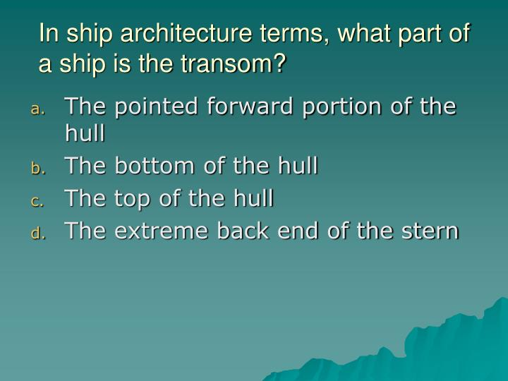 In ship architecture terms, what part of a ship is the transom?