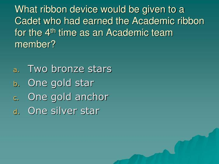 What ribbon device would be given to a Cadet who had earned the Academic ribbon for the 4