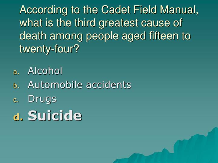 According to the Cadet Field Manual, what is the third greatest cause of death among people aged fifteen to twenty-four?