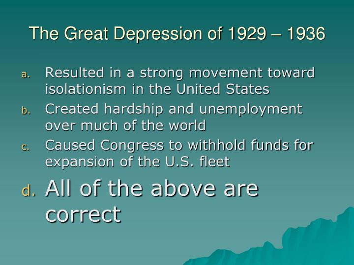 The Great Depression of 1929 – 1936