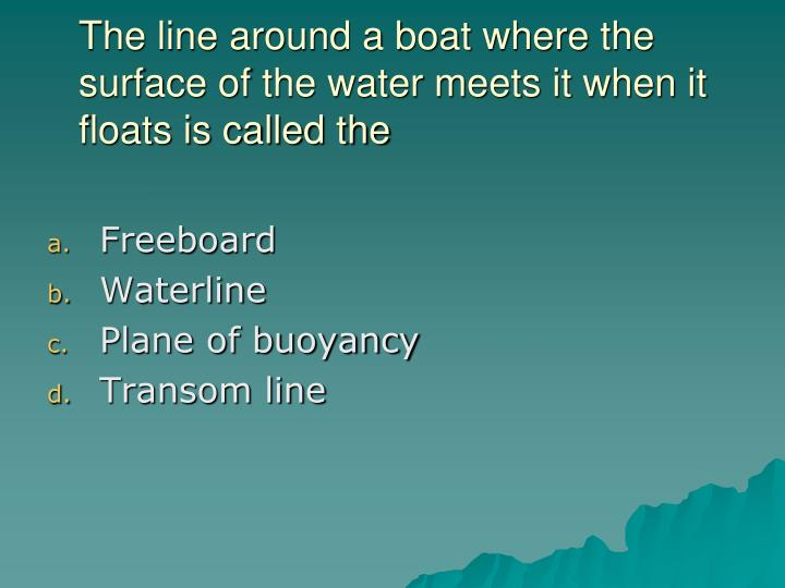 The line around a boat where the surface of the water meets it when it floats is called the
