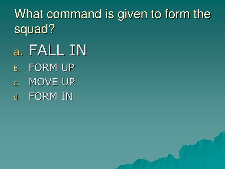 What command is given to form the squad?