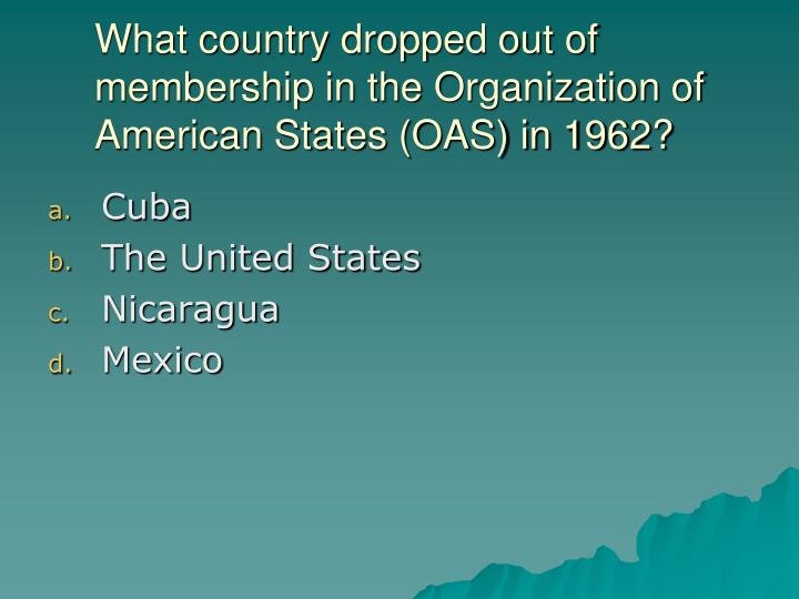 What country dropped out of membership in the Organization of American States (OAS) in 1962?