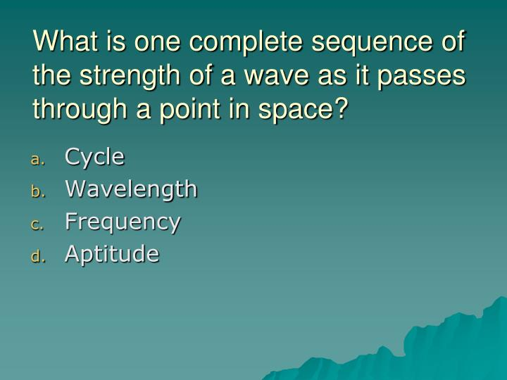 What is one complete sequence of the strength of a wave as it passes through a point in space?