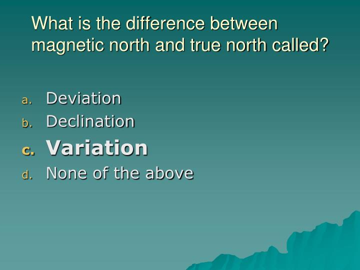 What is the difference between magnetic north and true north called?