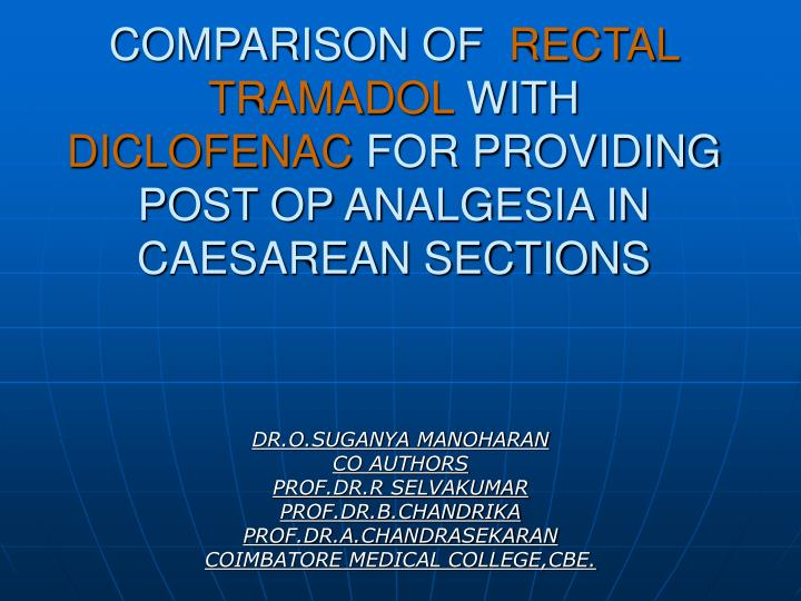 Comparison of rectal tramadol with diclofenac for providing post op analgesia in caesarean sections
