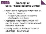 concept of social socioeconomic context