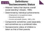 definitions socioeconomic status